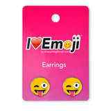 Emoji Tongue Wink Silver Stud Earrings