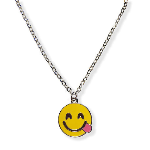 Side Tongue Emoji Silver Chain Necklace