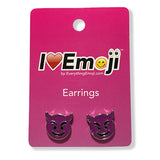 Emoji Women's Chain Necklace & Stud Earrings - Purple Devil