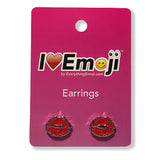 Emoji Women's Rope Necklace & Stud Earrings - Red Lips