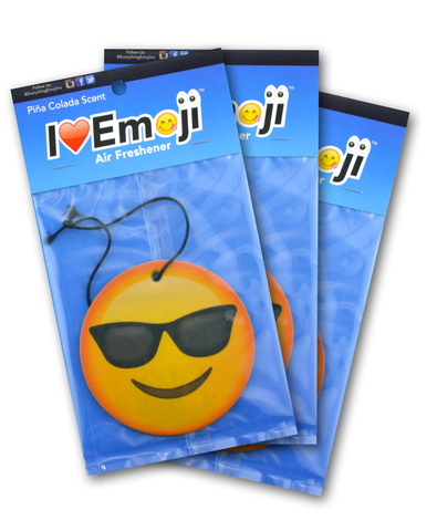 Emoji Sunglasses Air Freshener (3 Pack - Pina Colada Scented)