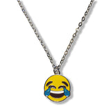Tears of Joy Emoji Silver Chain Necklace