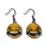 Tears of Joy Emoji Silver Dangle Drop Earrings