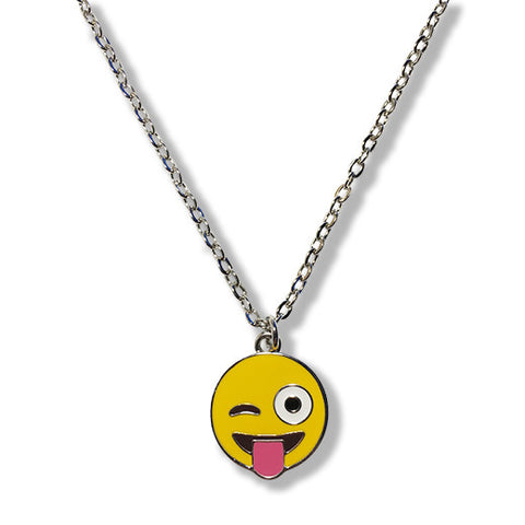 Tongue Wink Emoji Silver Chain Necklace