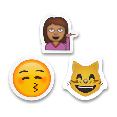 "2"" Emoji Stickers (Woman / Smooch / Smiling Cat)"