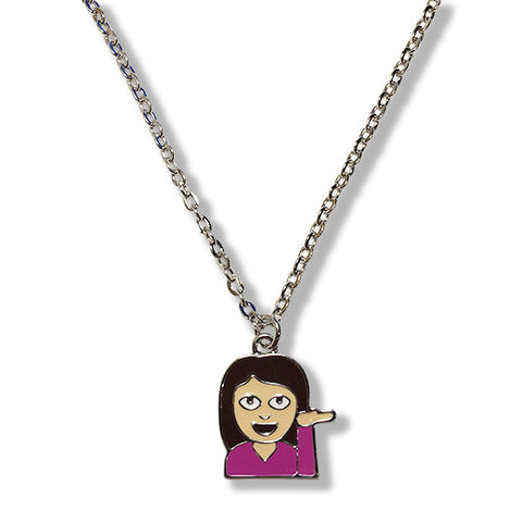 Woman Emoji Silver Chain Necklace