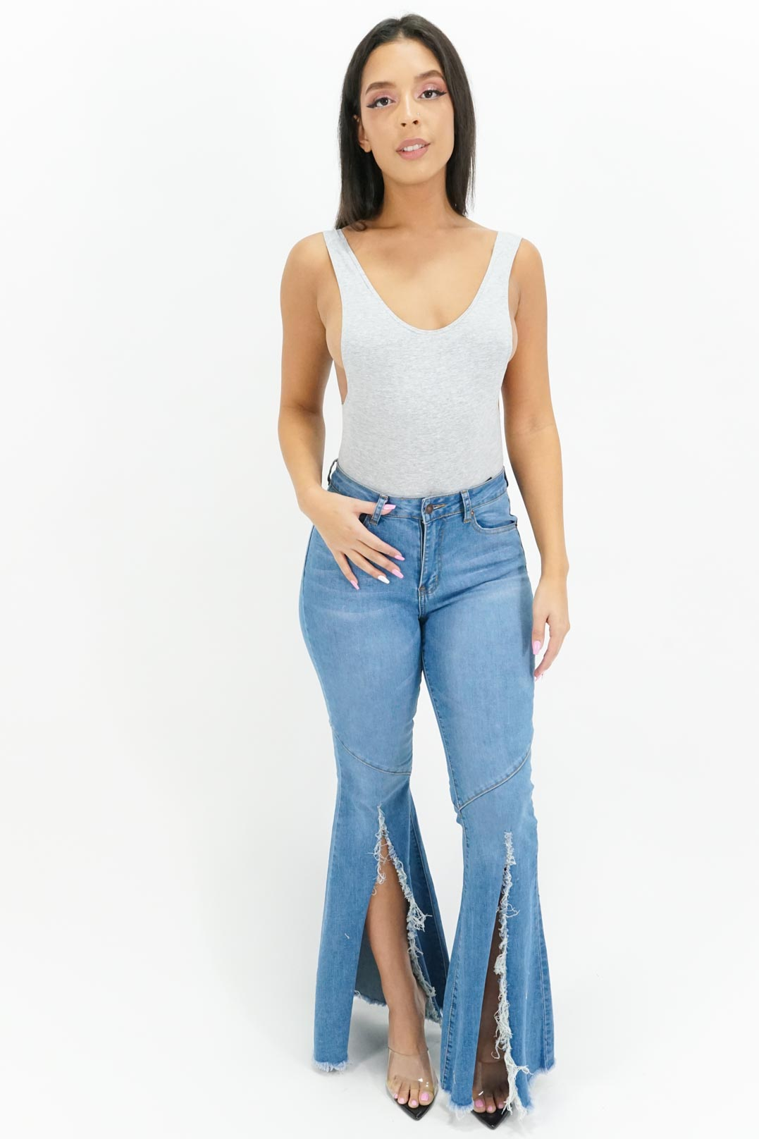 Making Room Ripped Bell Bottom Jeans