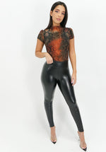 Desert Heat Short Sleeve Snakeskin Bodysuit