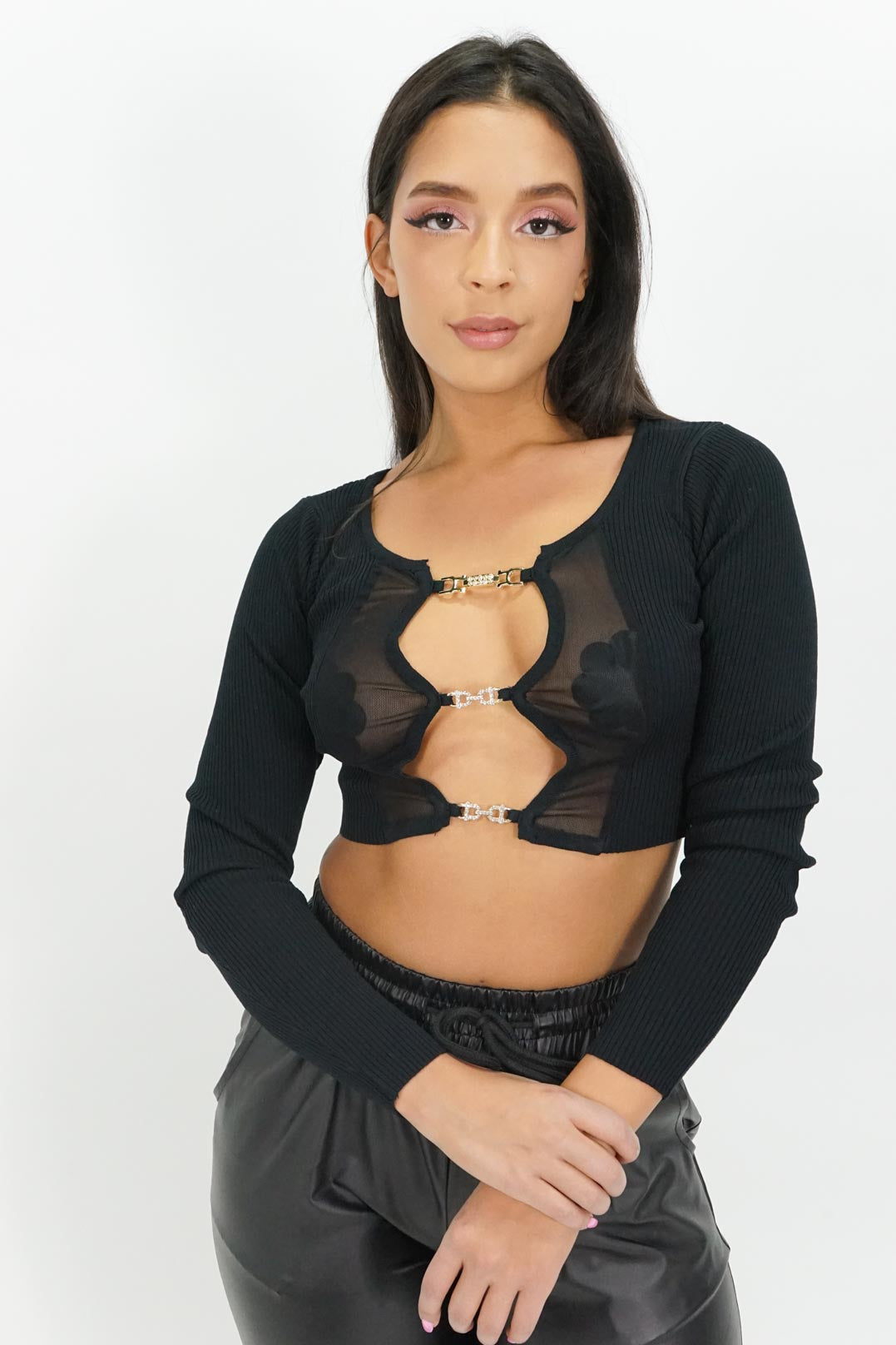 Keeping it Together Keyhole Mesh Crop Top