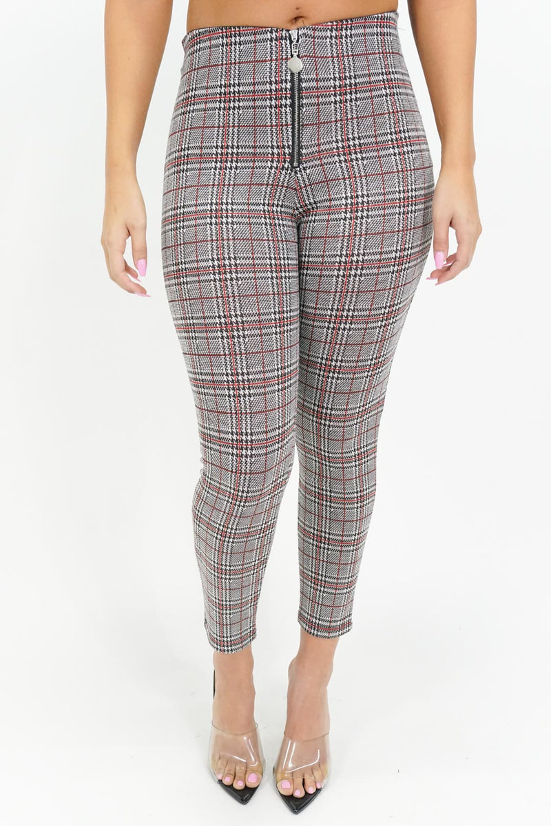 Turned Up Plaid Skinny Pants