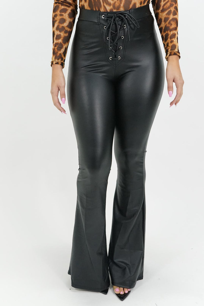 On the Rise Bell Bottom Pleather Pants