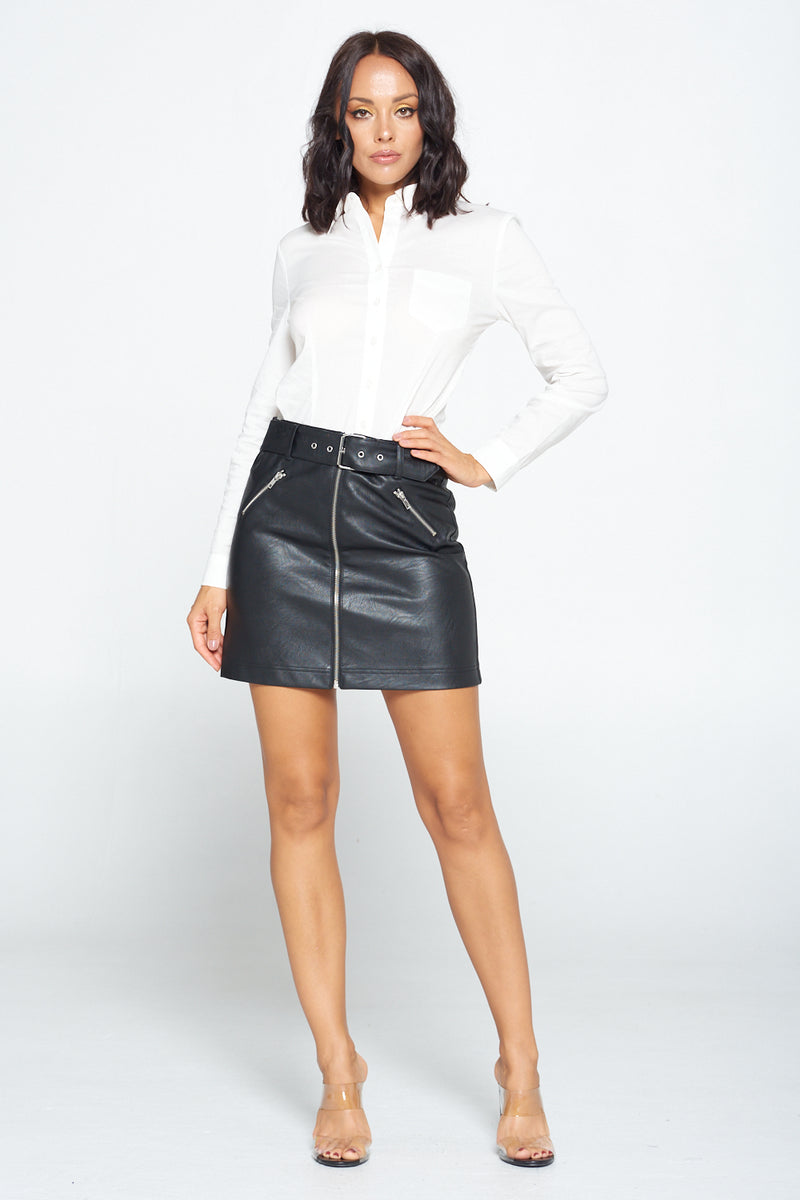 Zip Me Up PU Leather Skirt
