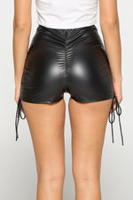 Feeling Bold Ruched Pleather Mini Shorts