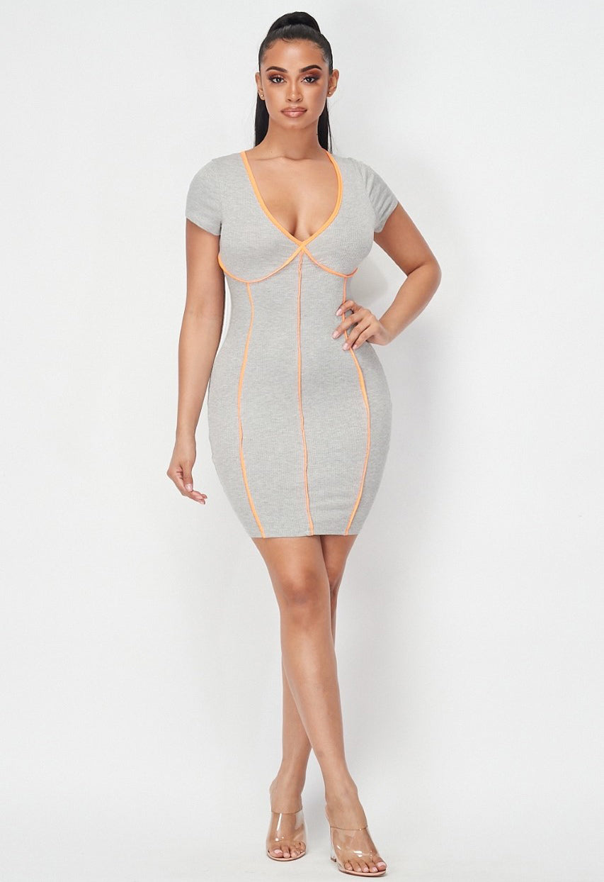 Sharp Outline Ribbed Short Sleeve Mini Dress