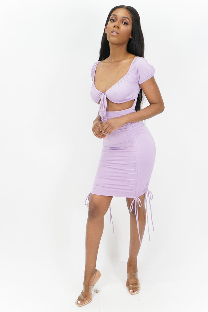 Sweet Dreams Tie String Keyhole Ruched Short Sleeve Midi Dress