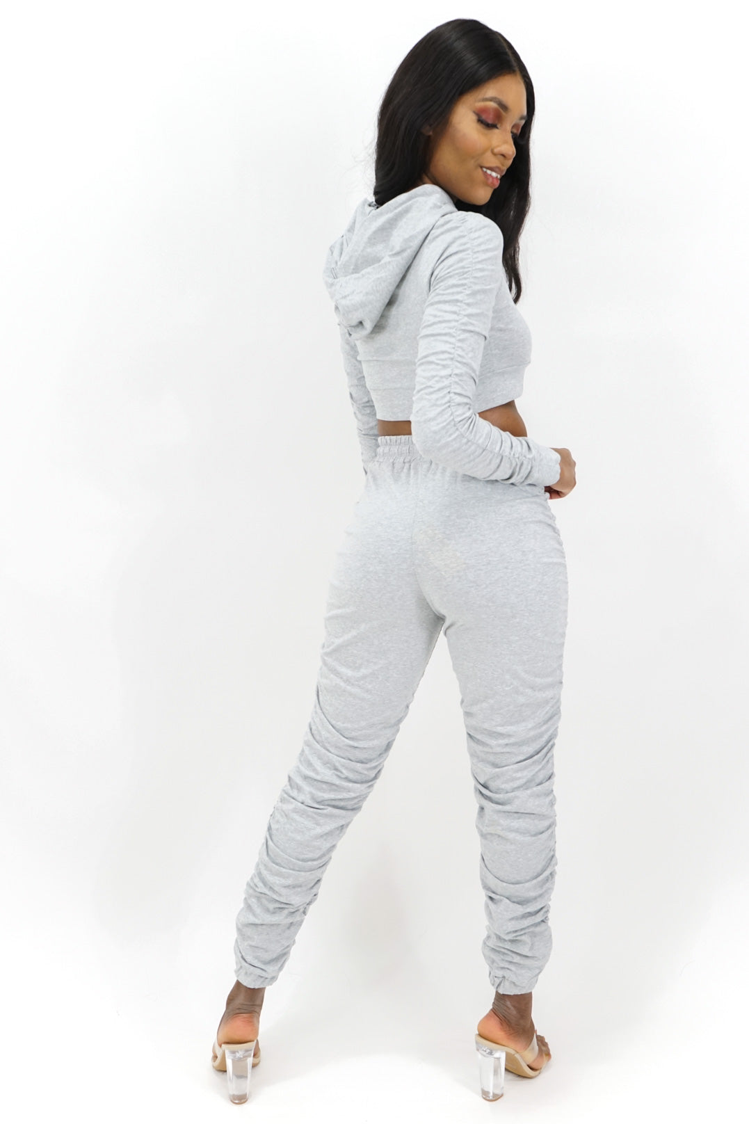 On the Move Ruched Joggers Set
