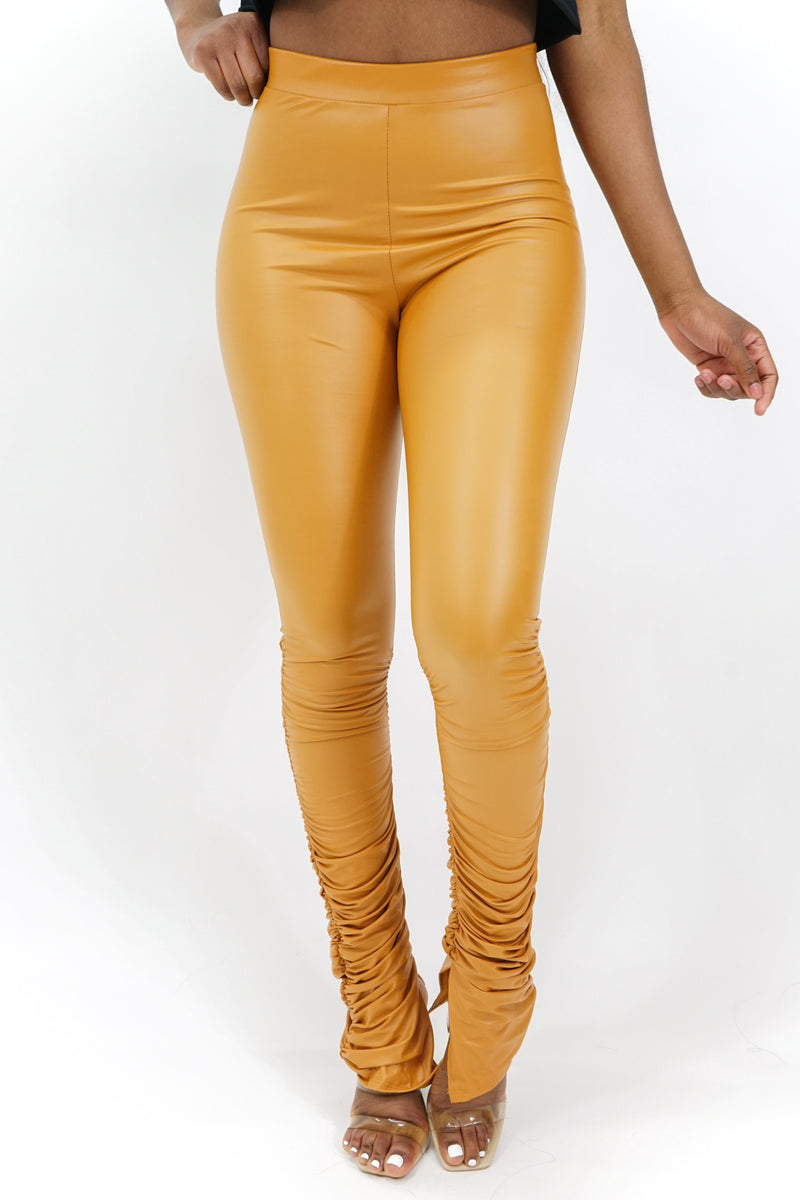 Hard to Please Pleather Ruched Leggings
