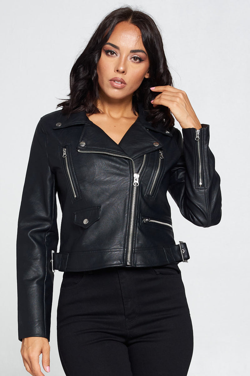 Can't Front PU Leather Jacket