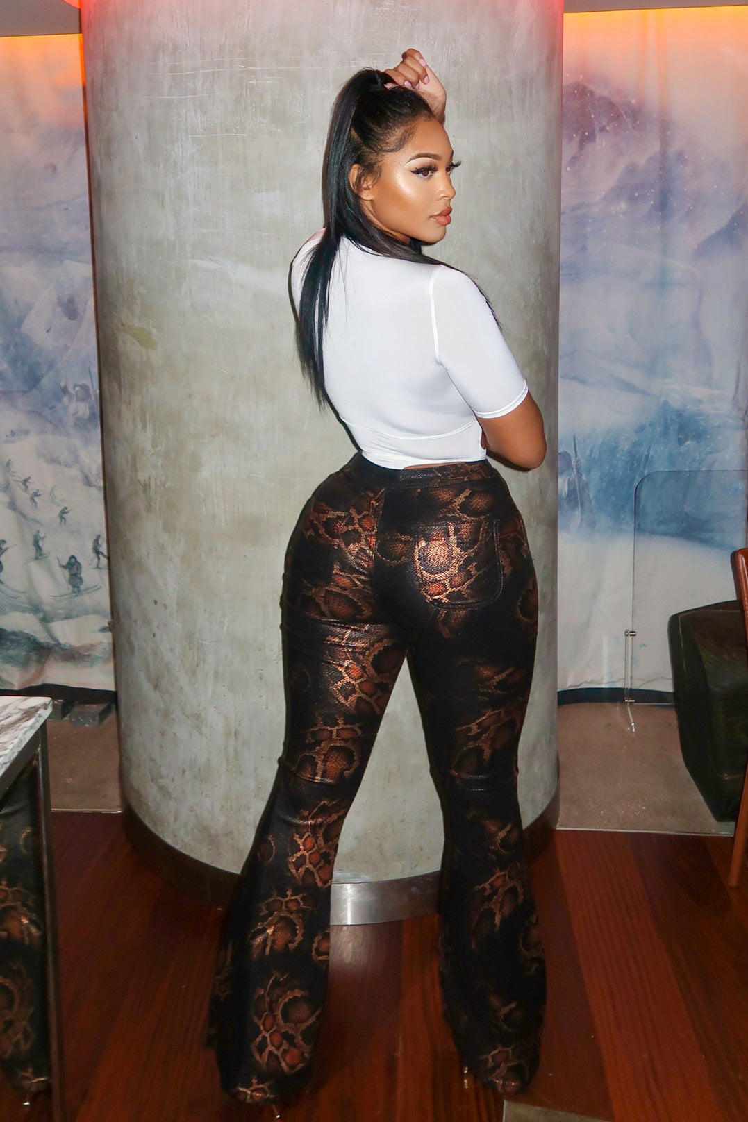 Queen Cobra Snakeskin High Waist Bell Bottom Pants
