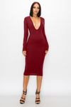 Gigi Deep V-Neck Midi Dress