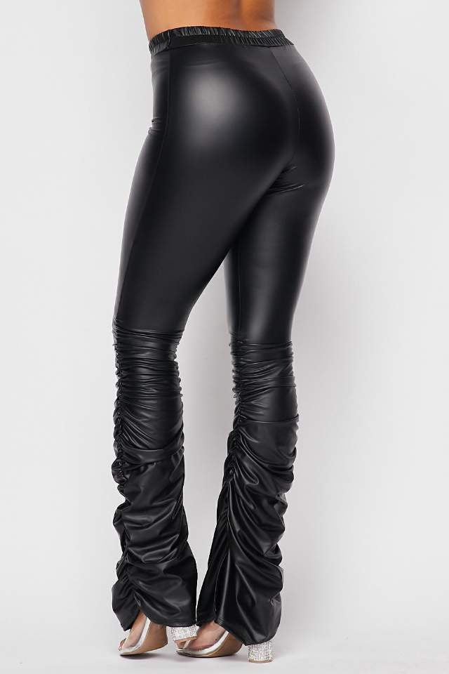 Over Ruched Pleather Leggings