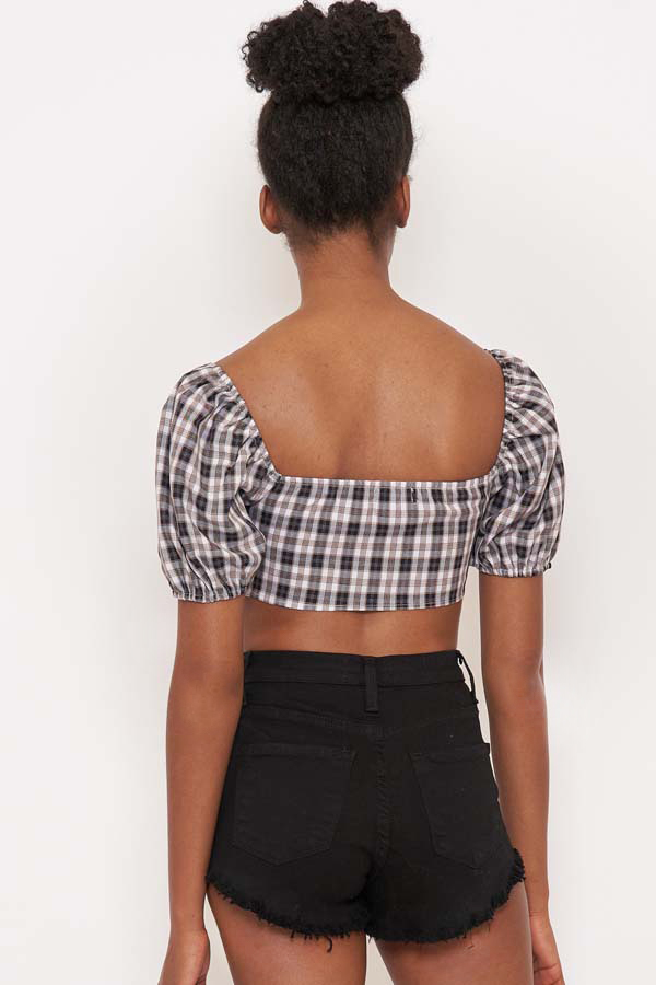 Learn from Me Plaid Tie Front Top