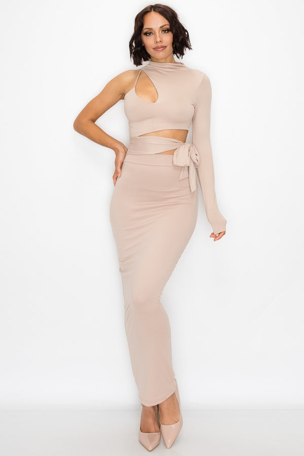 Life of the Party One Shoulder Keyhole Maxi Dress