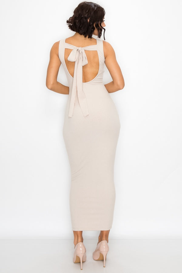 Clear Cut Back Tie Bodycon Maxi Dress