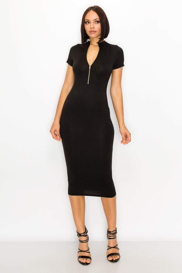Finesse Bodycon Midi Short Sleeve Dress
