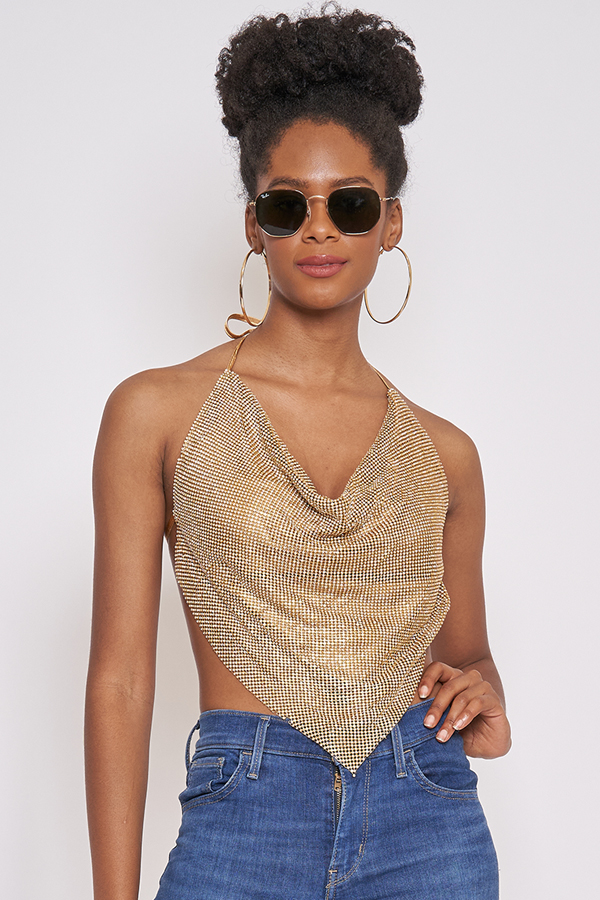 Fabulously Gold Metal Coverup Top