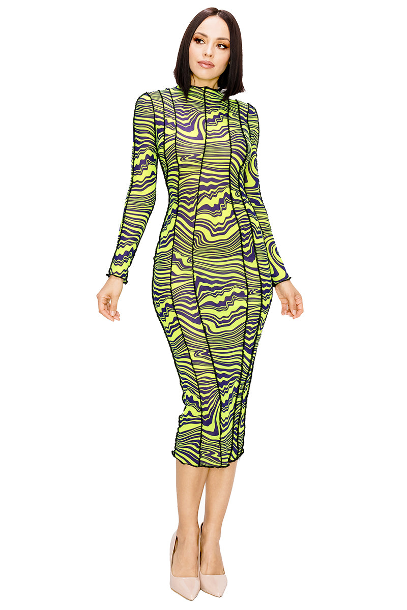 Paint on Water Bodycon Long Sleeve Midi Dress