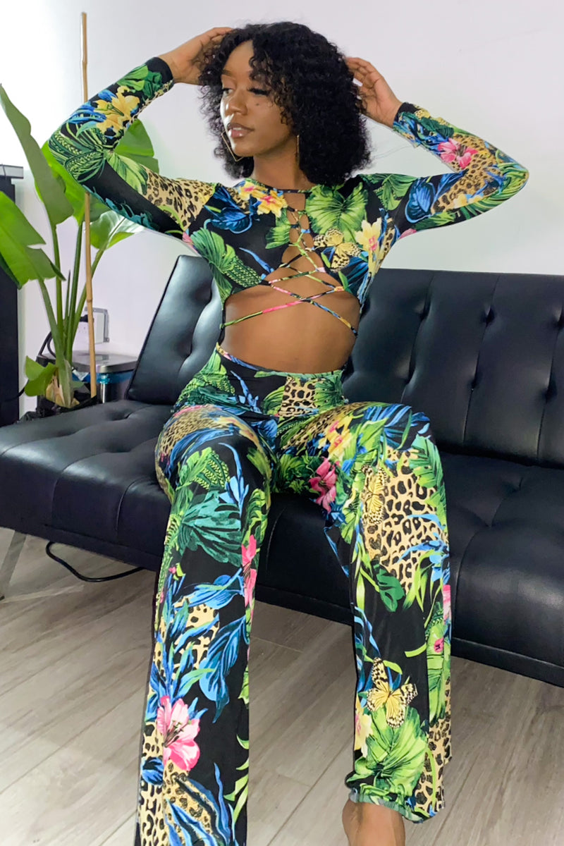 Floral Princess Keyhole Long Sleeve Jumpsuit