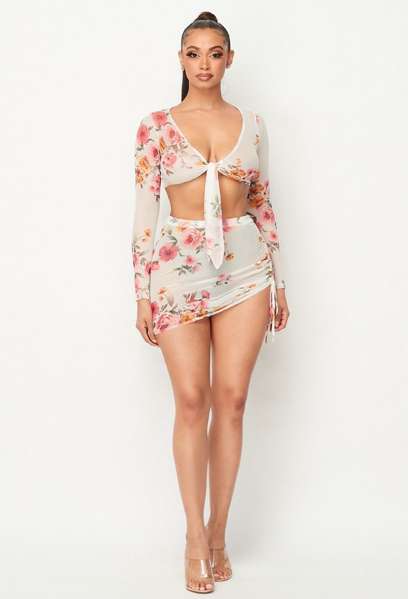 Floral Bloom Mesh Front Knot Long Sleeve Top + Mini Skirt Set