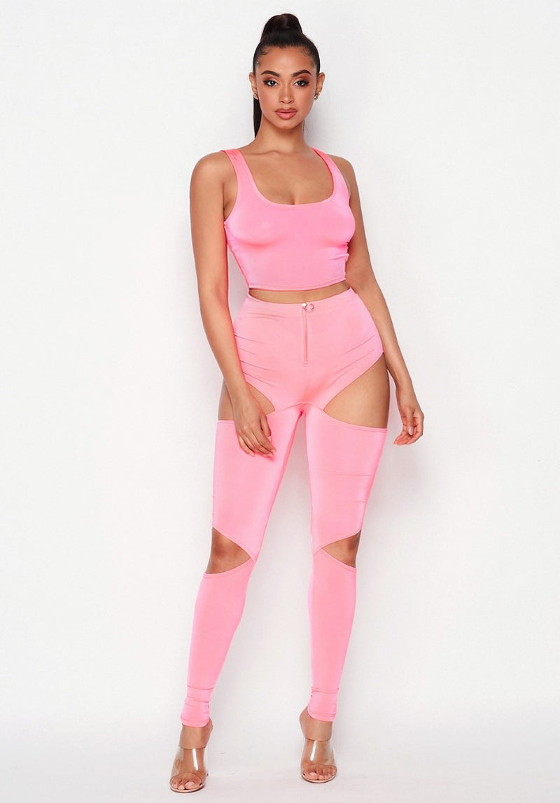 Take a Stand Satin Sleeveless Crop Top + Side Cutouts Leggings Set