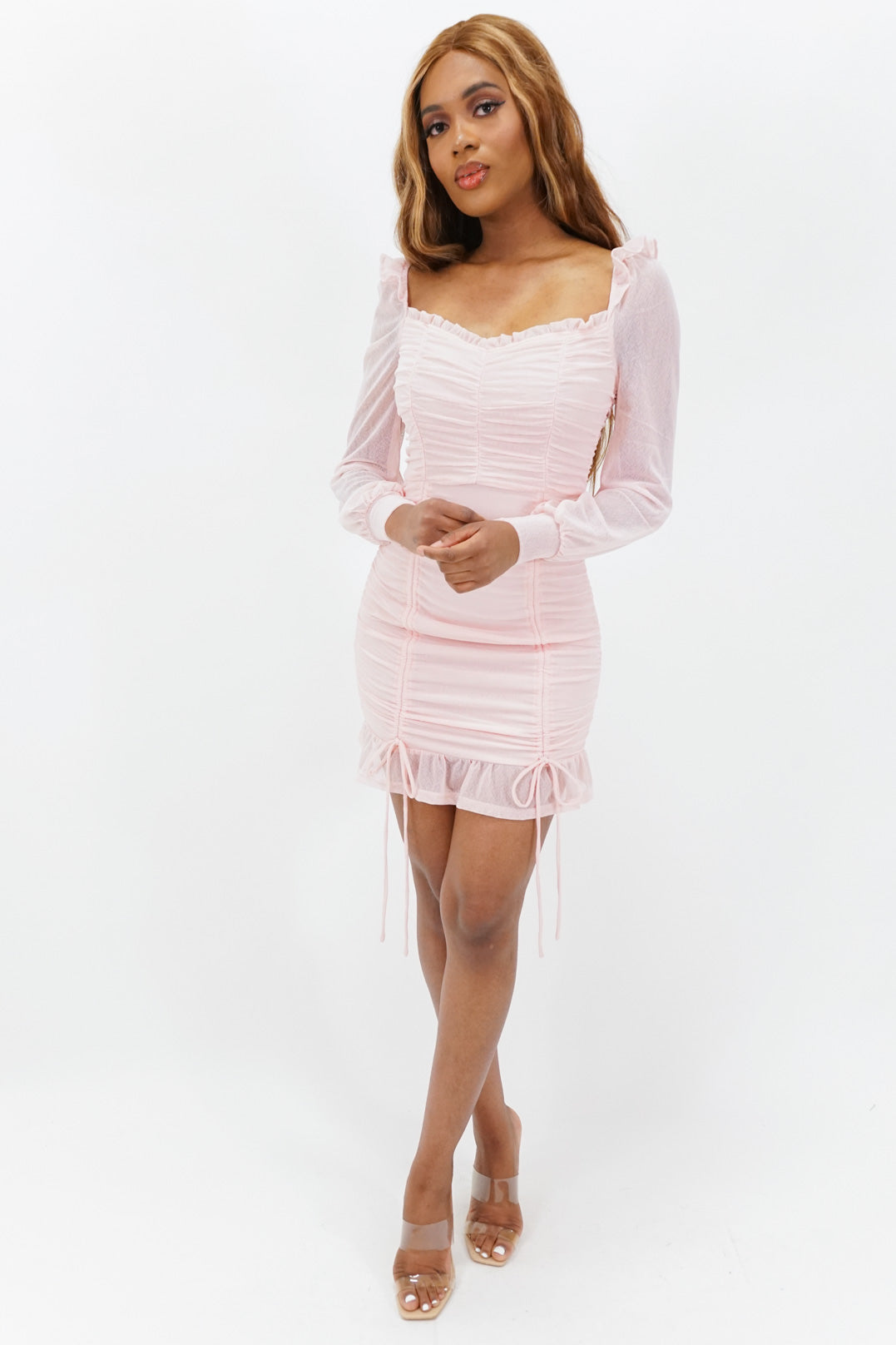 A Little Flair Ruched Mini Dress