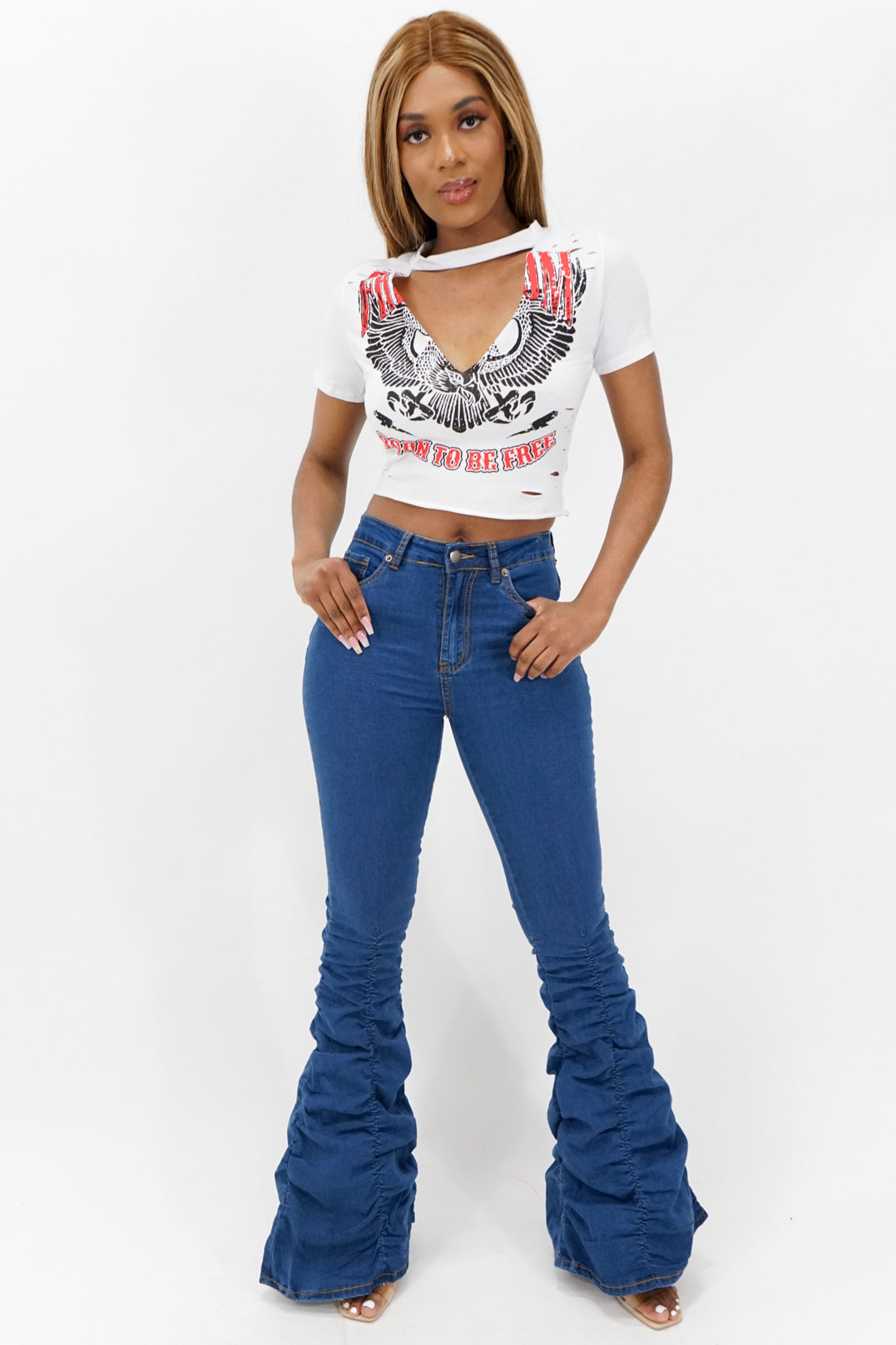 Born to Be Free Keyhole Ripped Crop Top