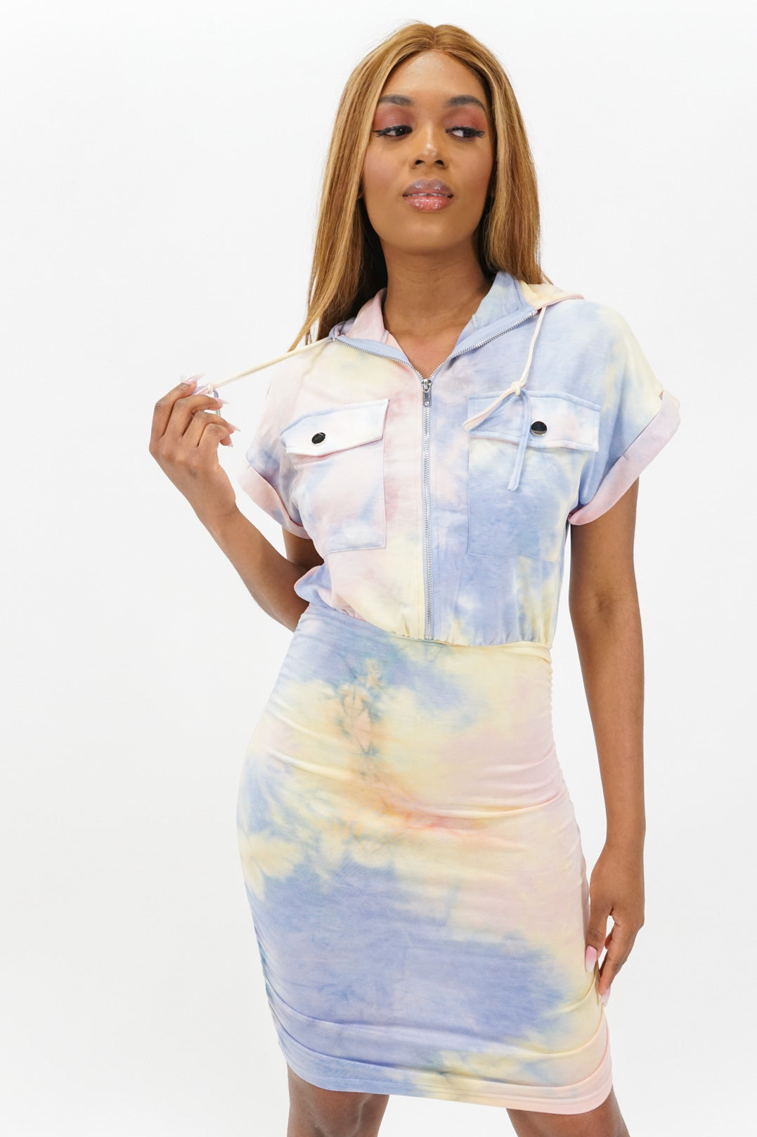 Work and Play Tiedye Short Sleeve Hooded Midi Dress
