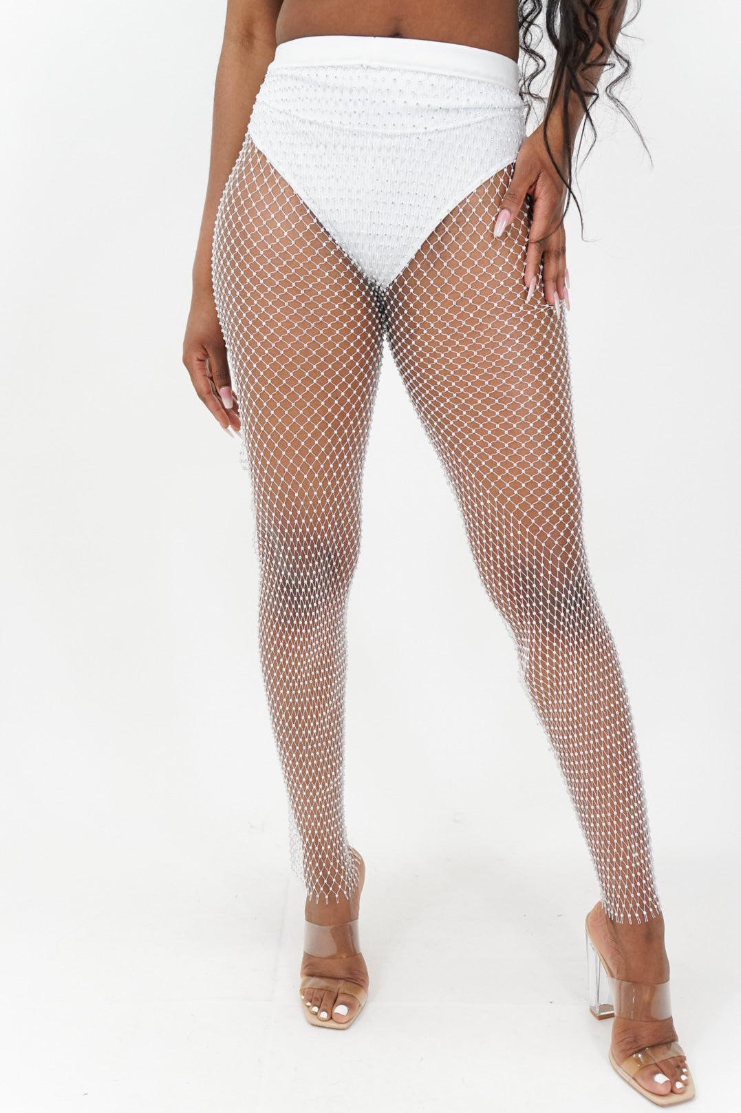 All That Glitters Rhinestone Fishnet Leggings