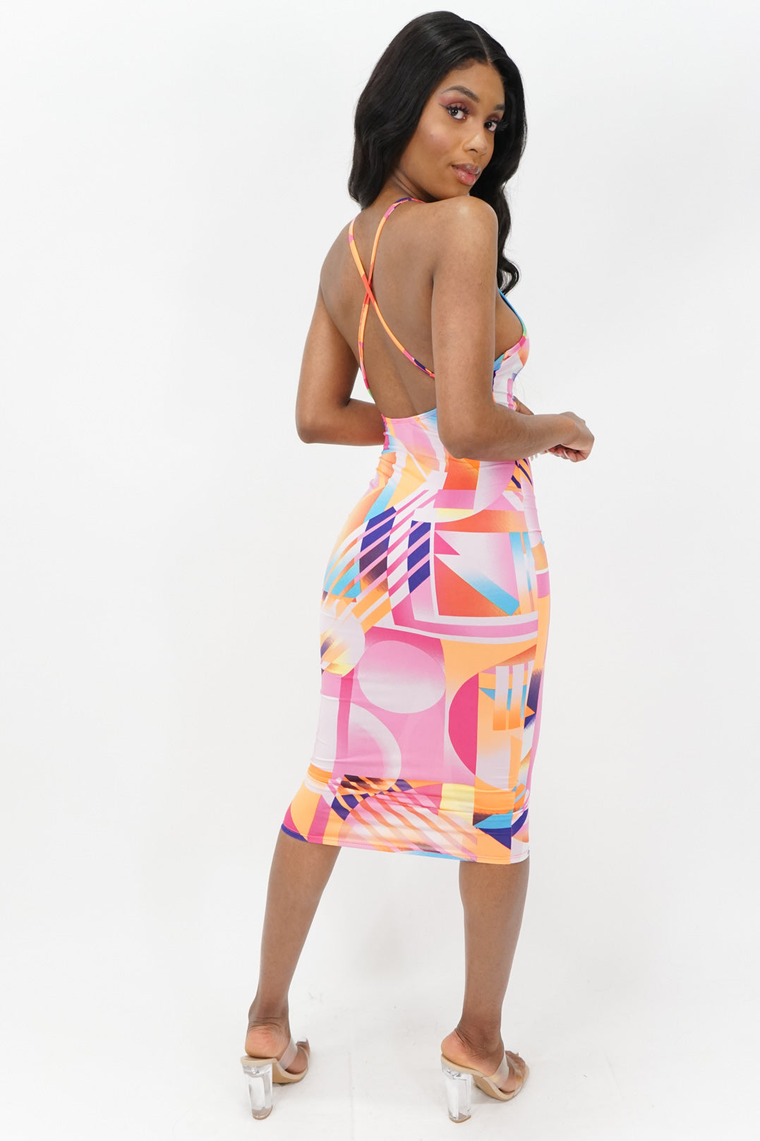 A Work of Art Bodycon Sleeveless Midi Dress