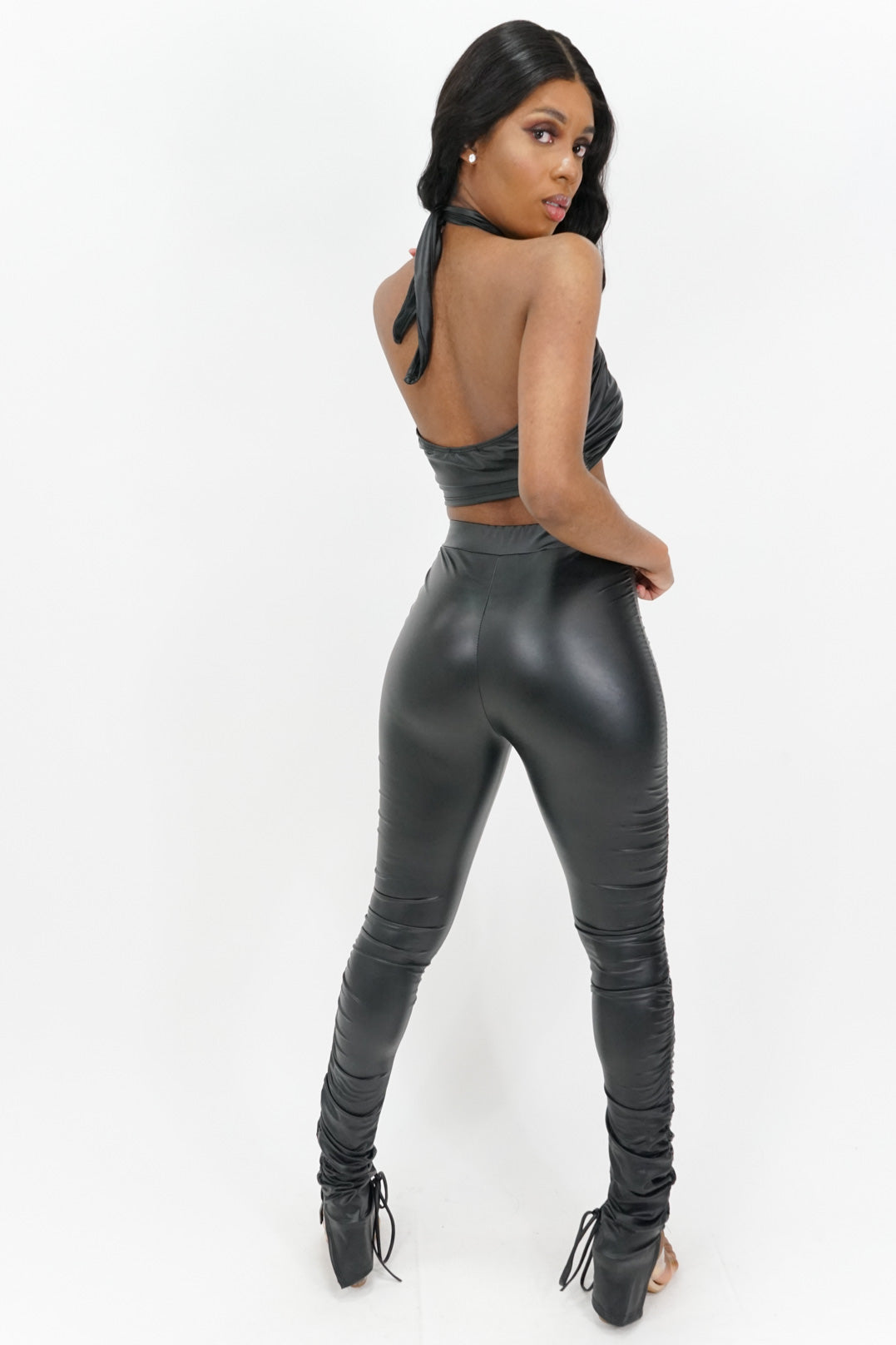 Out on Top Pleather Leggings Set