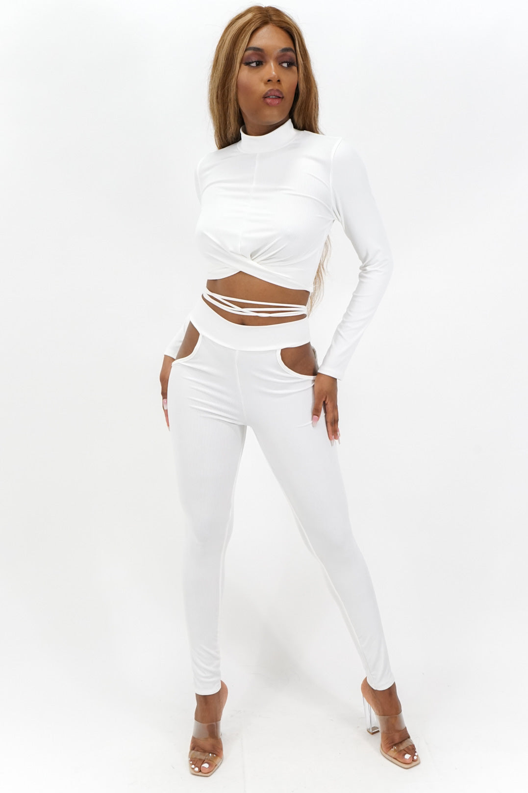 Run the Show Tie String Long Sleeve Top + Side Cutout Leggings Set