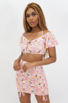 Tropical Sweetness Tie String Crop Top + Mini Skirt Set