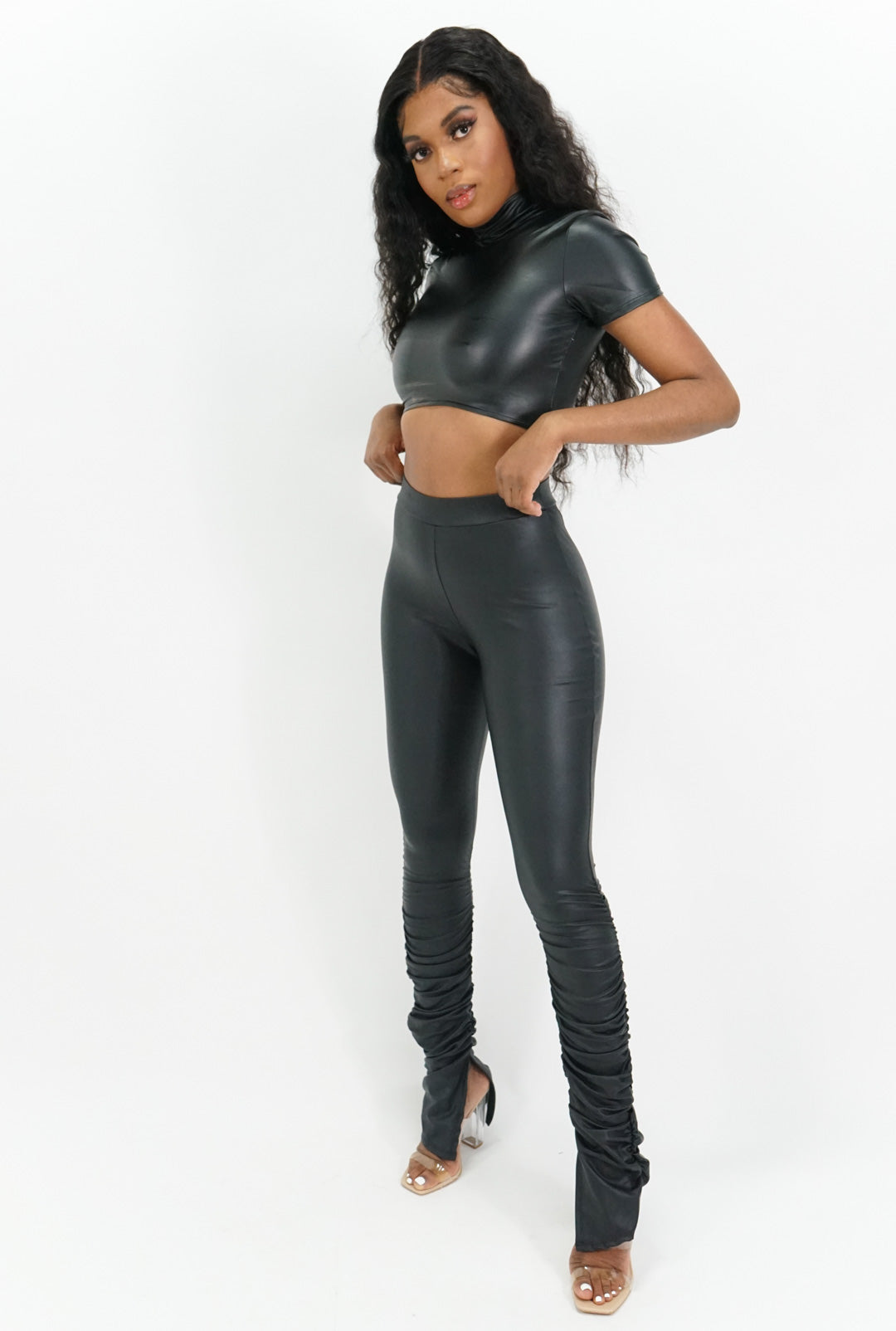 Nothing Less Pleather Crop Top + Leggings Set