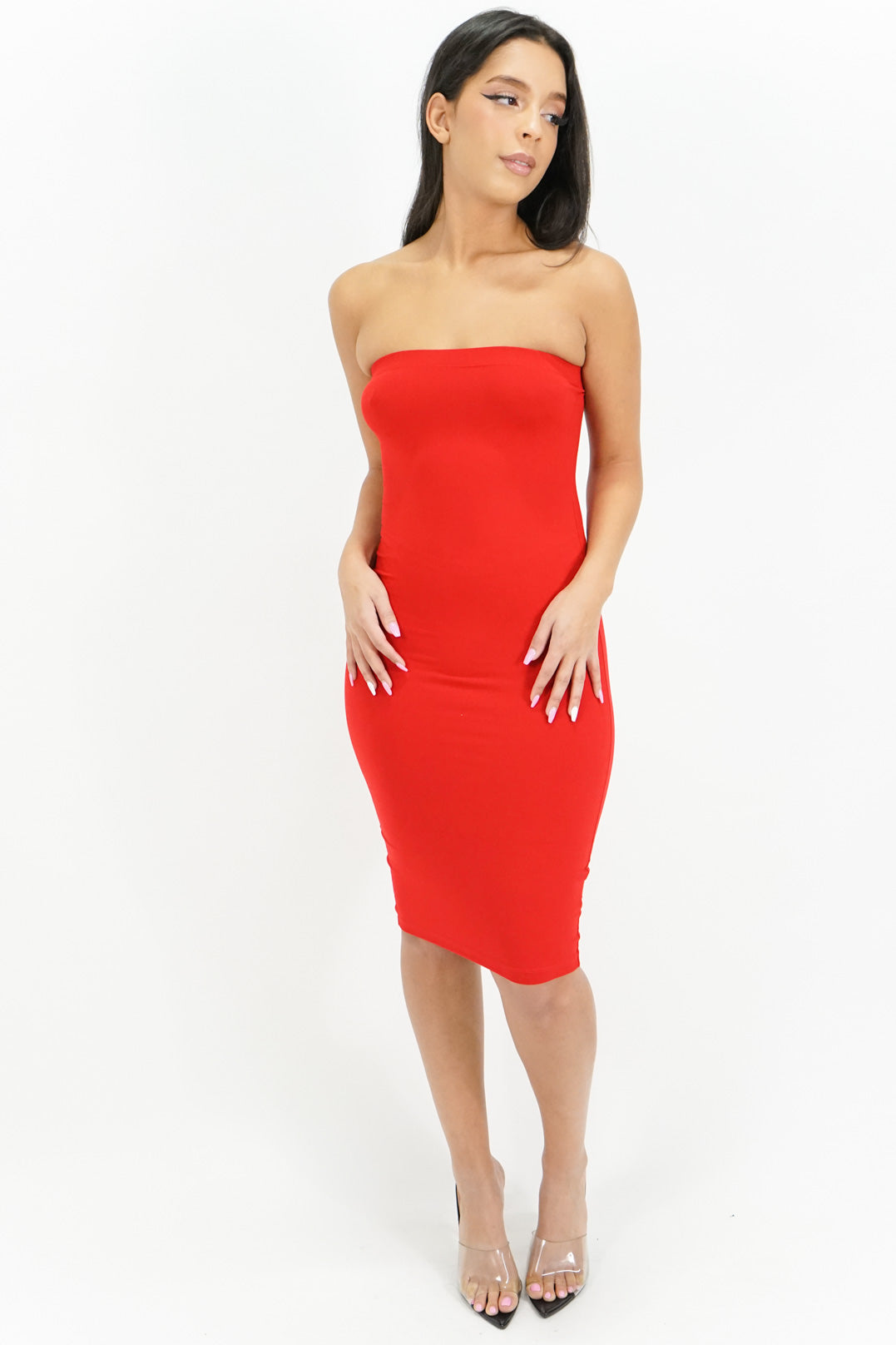 Simple Elegance Strapless Tube Midi Dress
