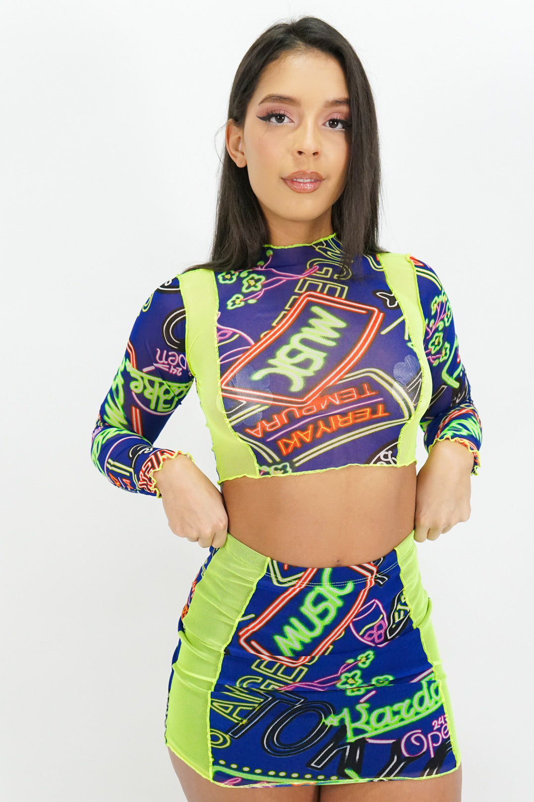 Neon Lights Mesh Crop Top + Skirt Set