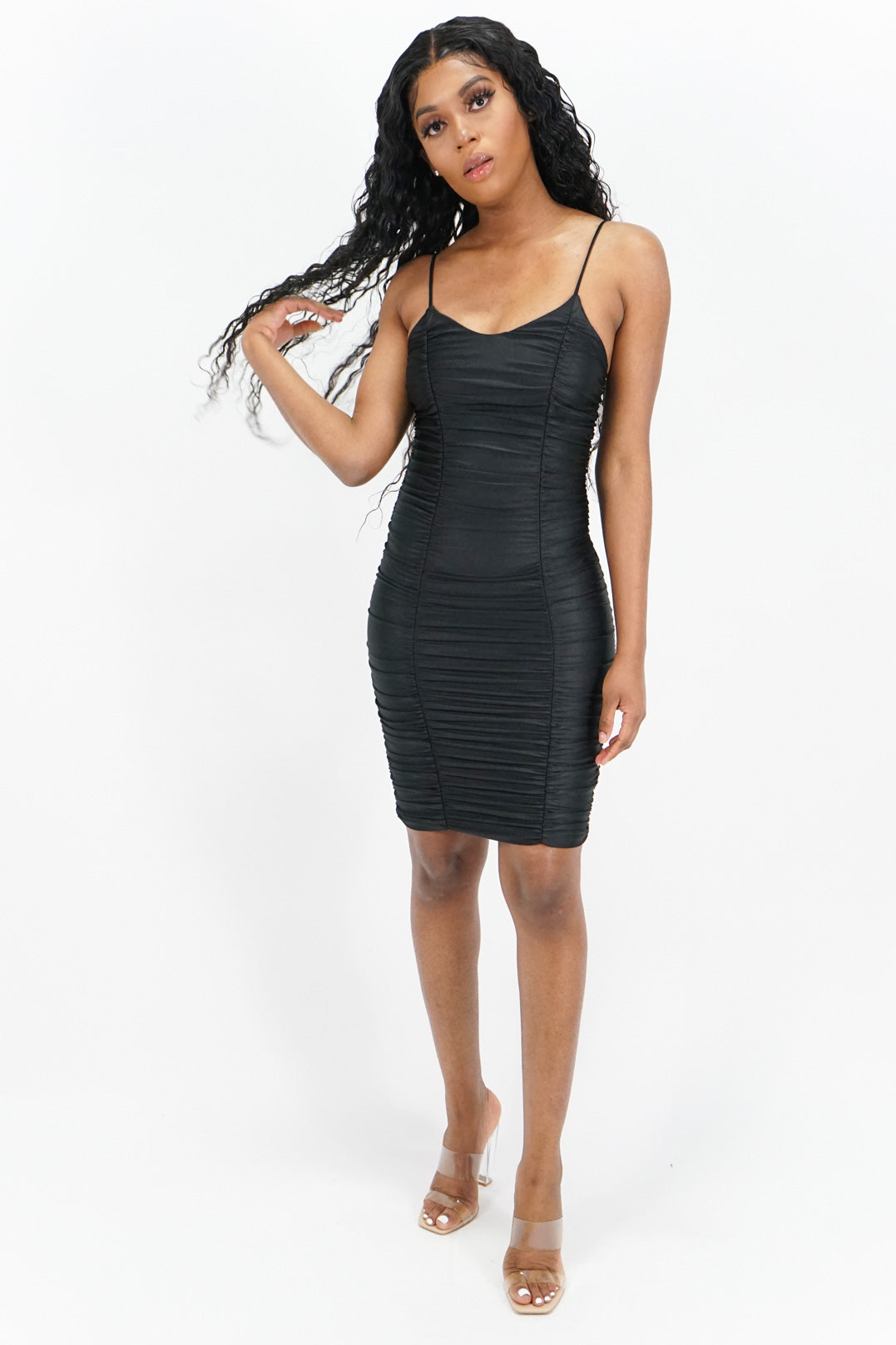 Nothing's Impossible Ruched Spaghetti Strap Midi Dress