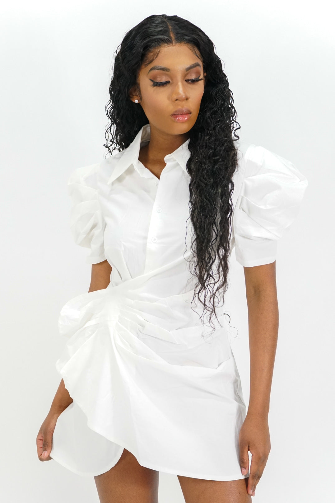 The Elite Puffed Sleeve Button-Up Mini Dress