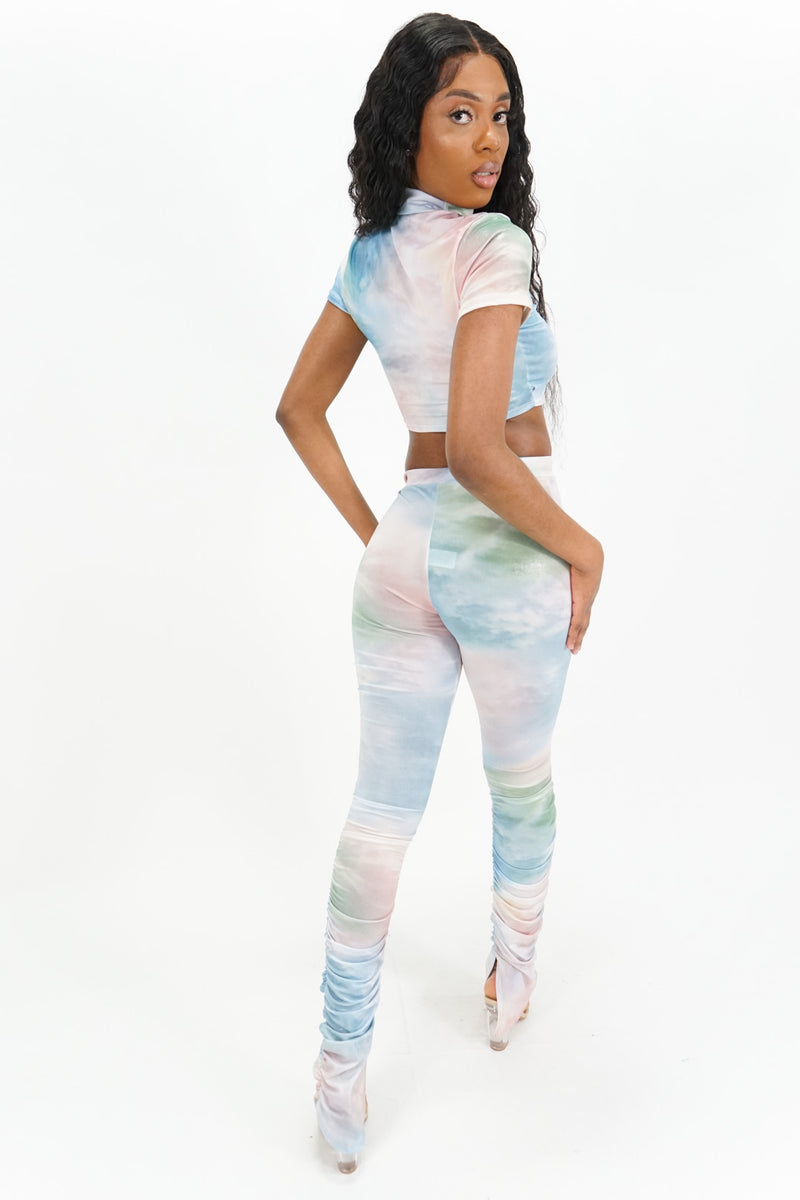 Head in the Clouds Crop Top + Ruched Leggings Set