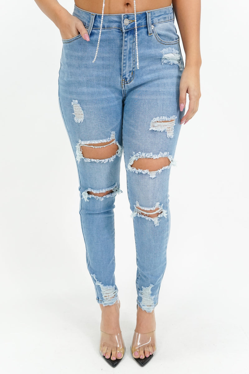Nothing to Worry About Ripped Denim Skinny Jeans