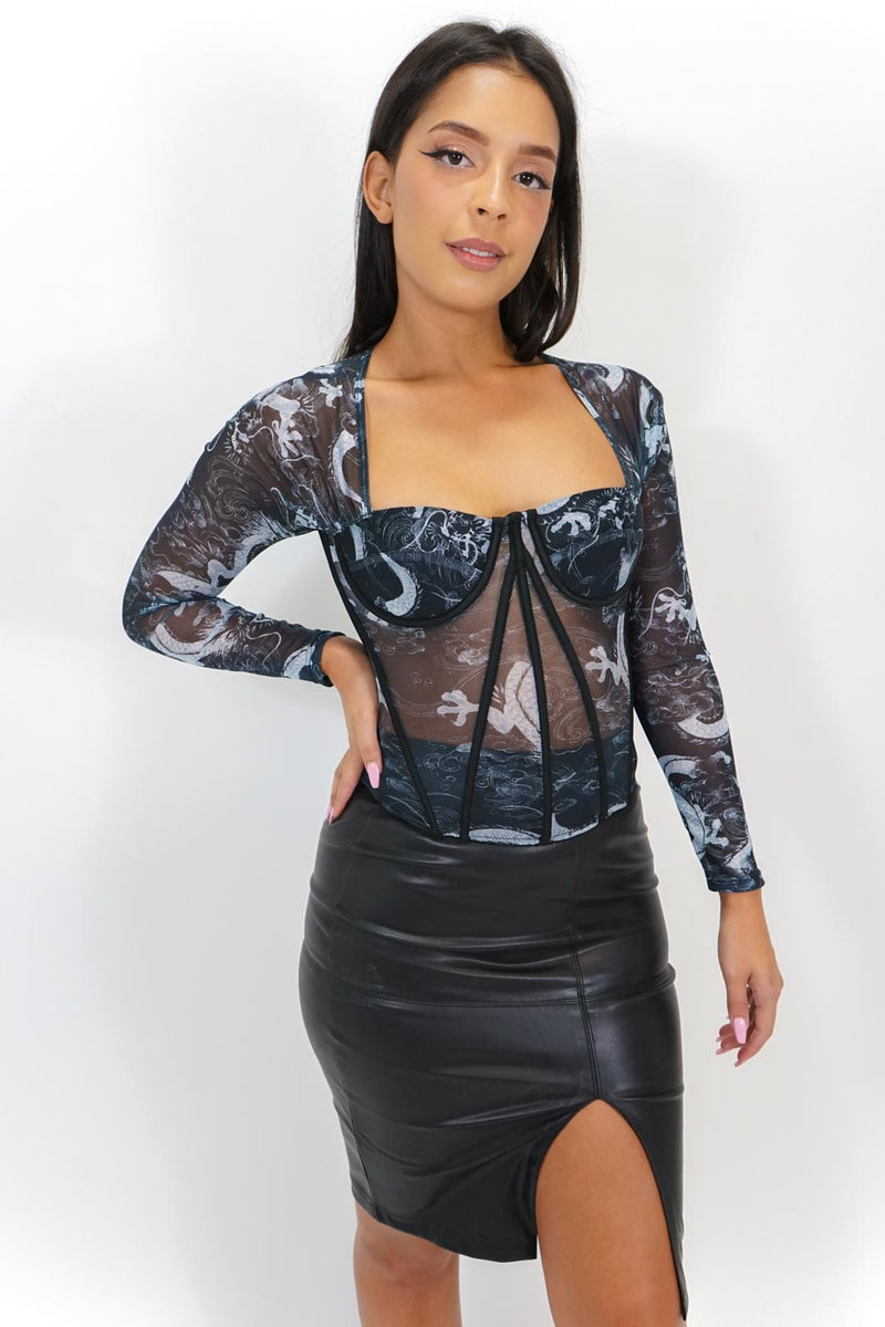 Bold Designs Long Sleeve Corset Top